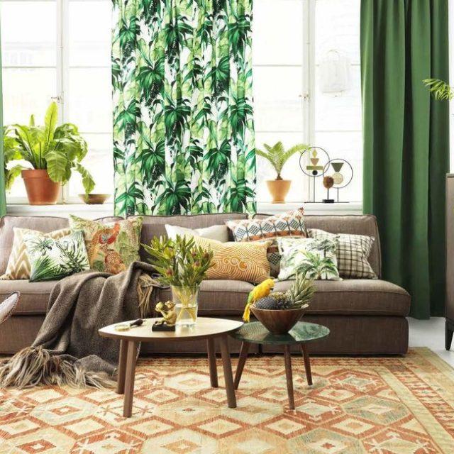 Inred med grönt i vardagsrummet