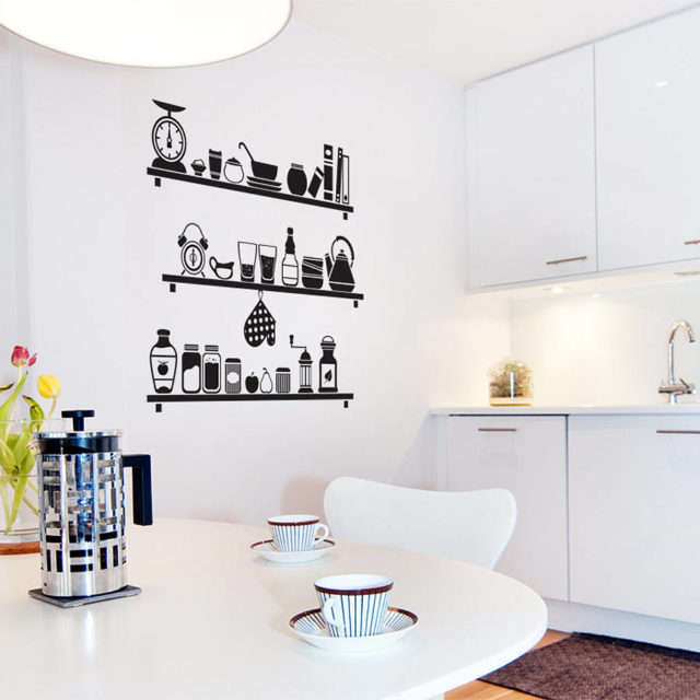Inred med väggdekor i köket