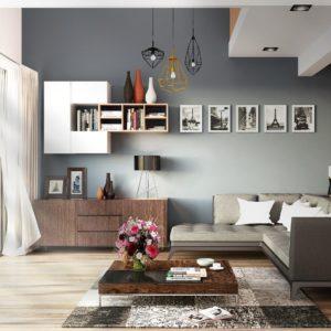 Inredning vardagsrum med altan