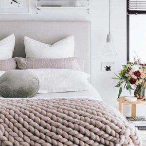 Inred sovrummet med textil för harmoni